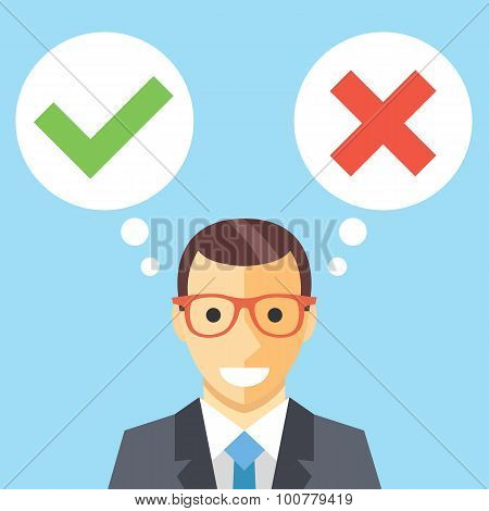 Man and speech bubbles with checkmarks flat illustration. Decision making concept
