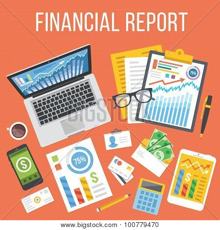 Financial report flat illustration concept. Top view