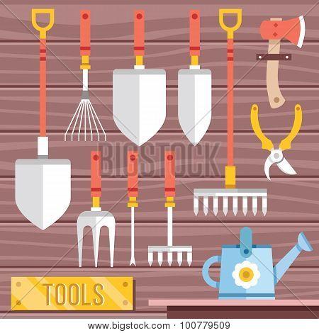 Gardening tools icons set. Hanging gardening equipment