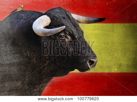 Spanish Bull Head With Big Horns Looking Dangerous Isolated On Spain Flag