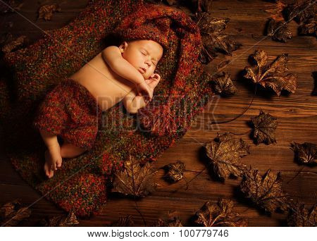 Baby Sleeping On Autumn Background, New Born Kid Asleep In Leaves, Newborn Lying On Brown