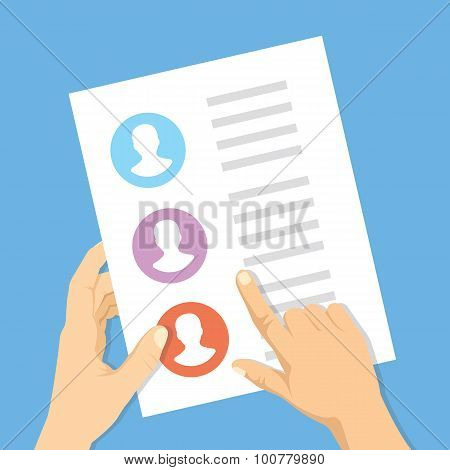 Pointing hand, hand with list of job applicants. Human resources