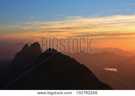 Wendenstocke At Sunset, View From The Titlis