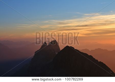 High Mountains In Central Switzerland At Sunset