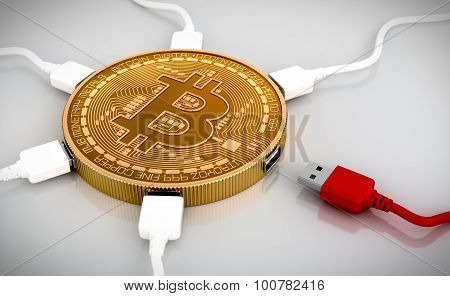 Red And White Usb Wires Connected To The Bitcoin
