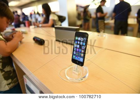 Apple smart phone on display