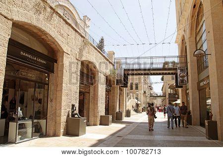 People At Modern Mamilla Shopping Mall  In Jerusalem, Israel.