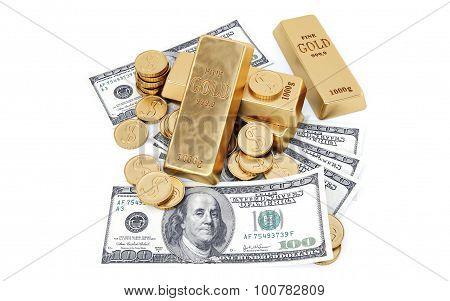 Dollar cash gold bar coins