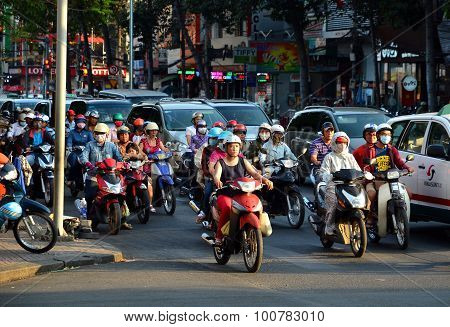 Busy Traffic In The Old Quarter 2015 In Ho Chi Minh