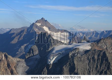 Beautiful Shaped Mountain With Glacier In The Swiss Alps