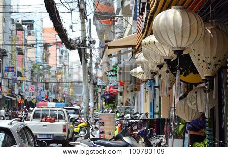 The Streets With Lamp In Saigon (ho Chi Min City) Full Of Wires.