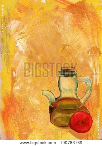 A watercolour drawing of a bottle of olive oil and a tomato on an artistic acrylic background