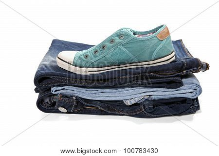 Jeans And Green Sneakers
