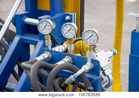 Hydraulic Tubes, Fittings And Manometers On Control Panel