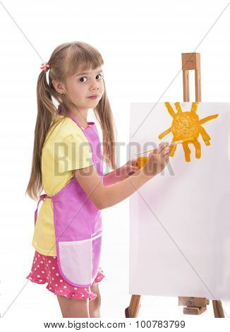 girl painting over white