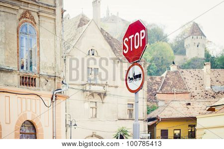 Stop And Horse-drawn Vehicles Road Signs