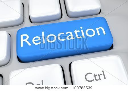 Render Illustration Of Keyboard Button With The Word Relocation