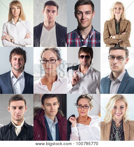 Collection of different many happy smiling young people faces caucasian women and men. Concept busin