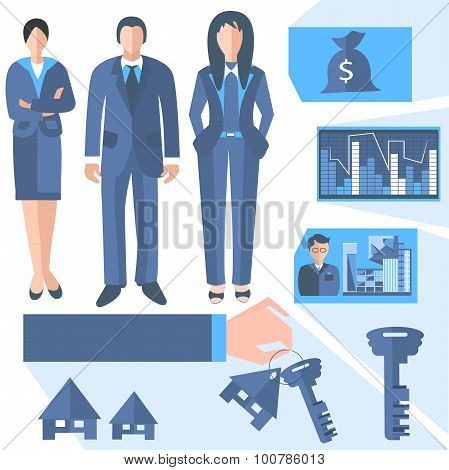 Business people estate agents, trading charts, keys, house, property
