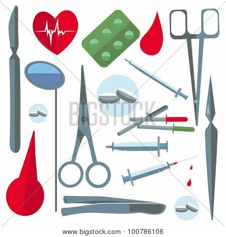 Set isolated medical items, tools, scissors, enema, tablets
