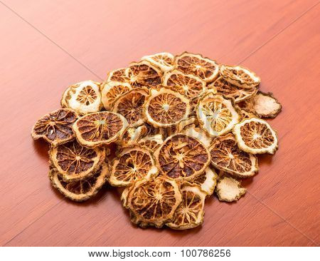 Heap of dried lime slices