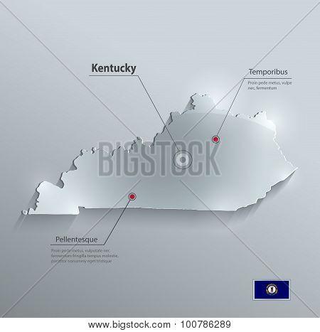 Kentucky map flag glass card paper 3D vector