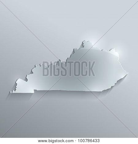 Kentucky map glass card paper 3D raster