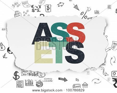Money concept: Assets on Torn Paper background