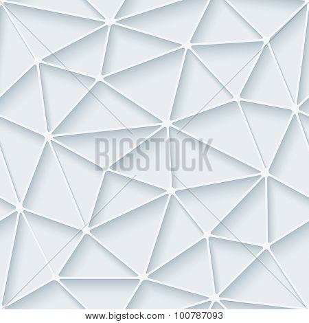 Polygon. White paper with outline extrude effect. Abstract 3d seamless background.
