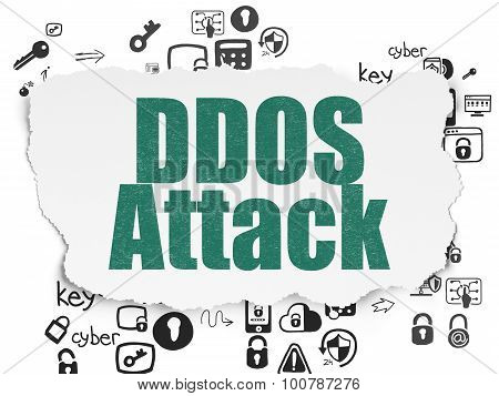 Protection concept: DDOS Attack on Torn Paper background