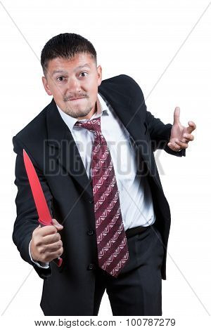 Angry businessman with knife