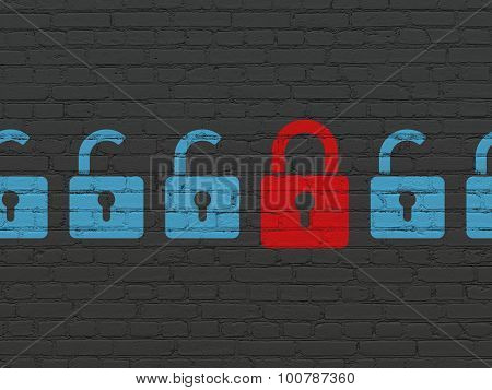 Safety concept: closed padlock icon on wall background