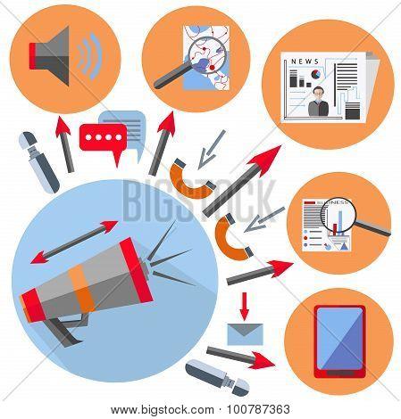 Set office element gramophone, gadget, arrow, phone
