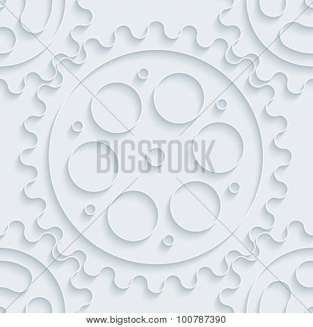 Gears. White paper with outline extrude effect. Abstract 3d seamless background.