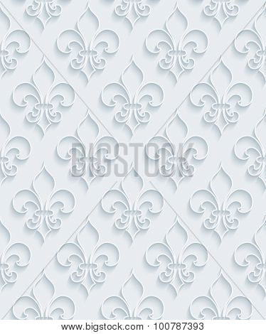 Fleur de lis. White paper with outline extrude effect. Abstract 3d seamless background.