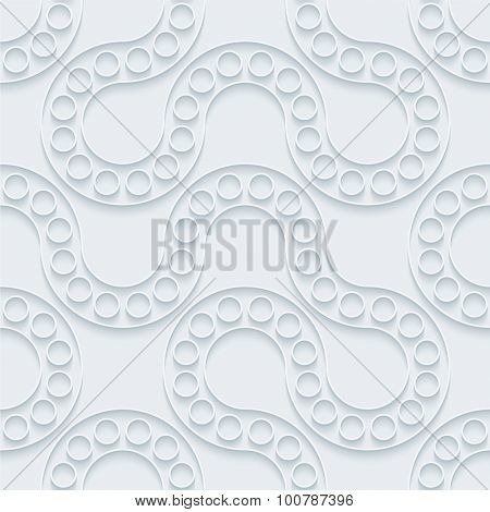 Flow. White paper with outline extrude effect. Abstract 3d seamless background.