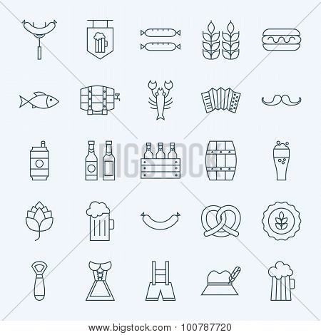 Line Holiday Oktoberfest And Beer Icons Set