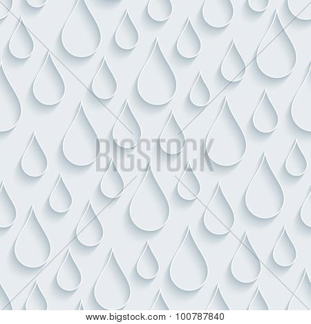 Rain. White paper with outline extrude effect. Abstract 3d seamless background.