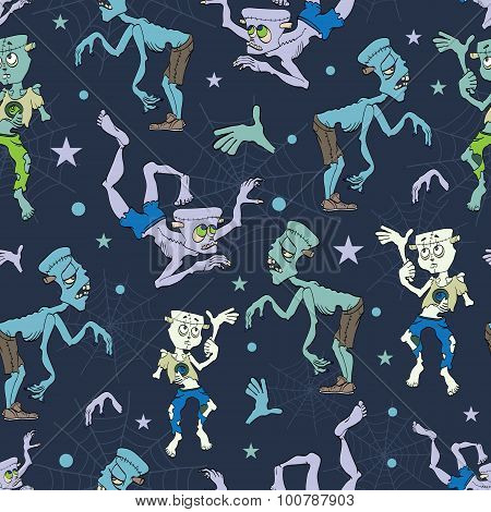 Vector Spooky Zombies Halloween Seamless Pattern. Isla Vista California. Epic Party