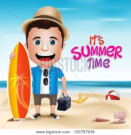 3D Realistic Man Character Wearing Summer Outfit Holding Surfing Board