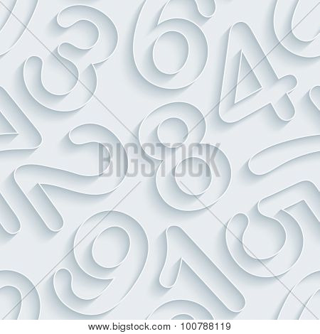 Numbers. White paper with outline extrude effect. Abstract 3d seamless background.