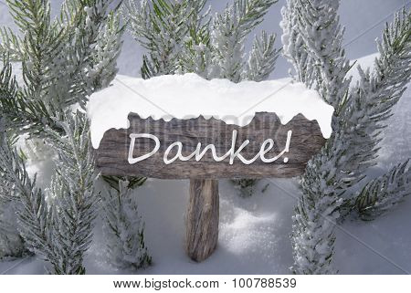 Christmas Sign Snow Fir Tree Danke Means Thank You