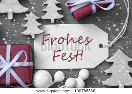 Label Gift Tree Snowflakes Frohes Fest Means Merry Christmas