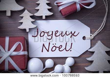 Label Gift Tree Joyeux Noel Means Merry Christmas