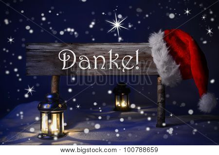 Christmas Sign Candlelight Santa Hat Danke Means Thank You