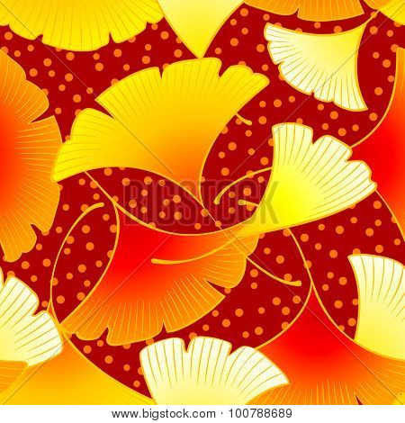 Colorful dancing autumn gingko leaves seamless pattern