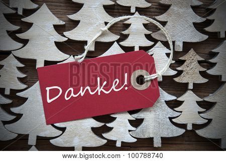Red Christmas Label With Danke Means Thank You