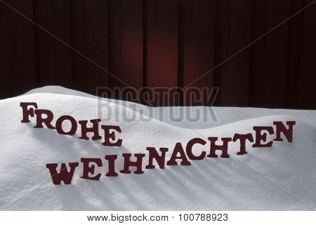Frohe Weihnachten Means Merry Christmas On Snow