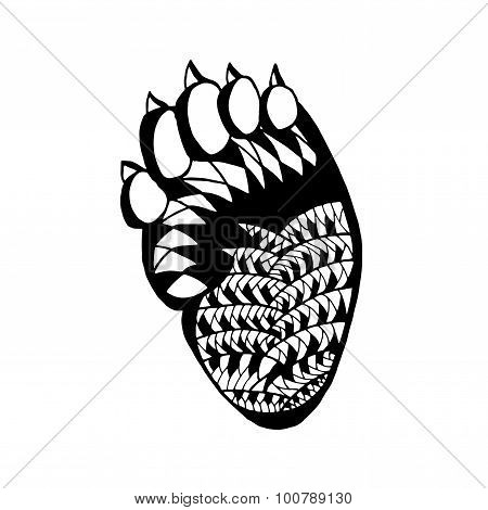 Zentangle stylized bear paw. Sketch for tattoo or t-shirt.