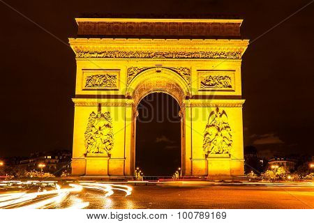 The Triumphal Arch At Night.paris, France
